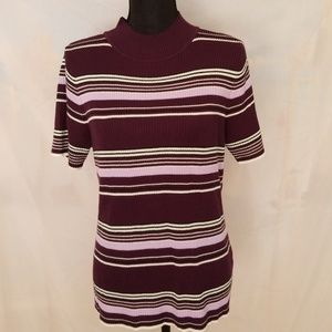 Plum, Lavender and Cream Ribbed Knit Top